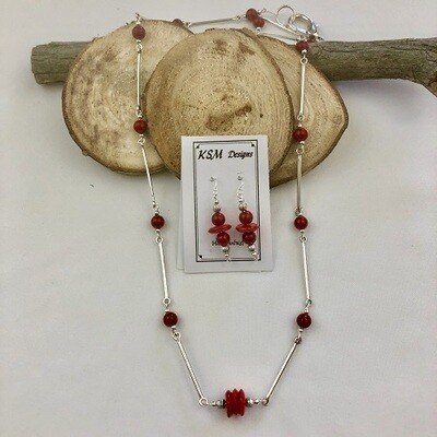 Coral & Pewter Necklace & Earring Set