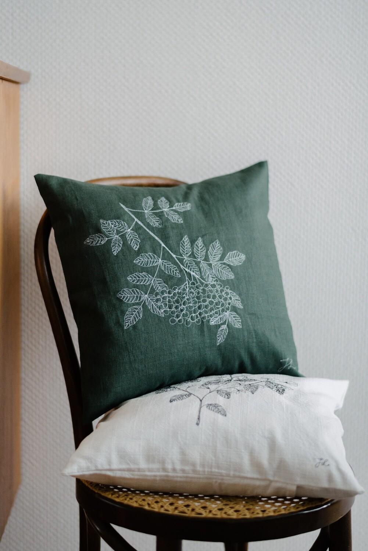 """""""Rowan"""" Green Pillow Cover"""