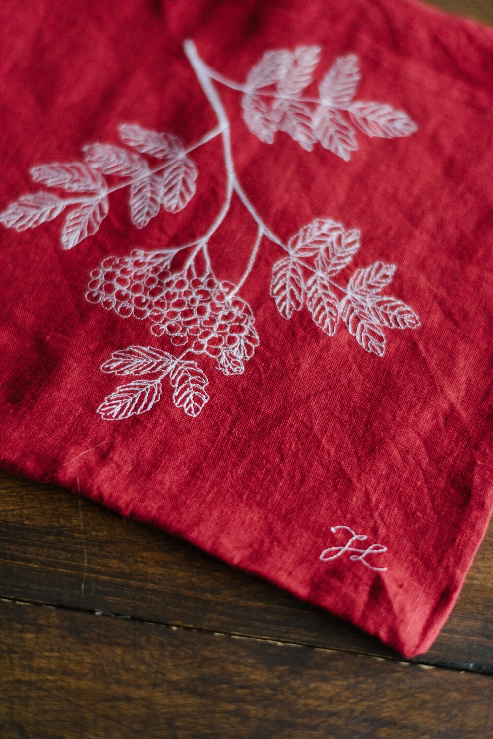"""Rowan"" Red Pillow Cover"