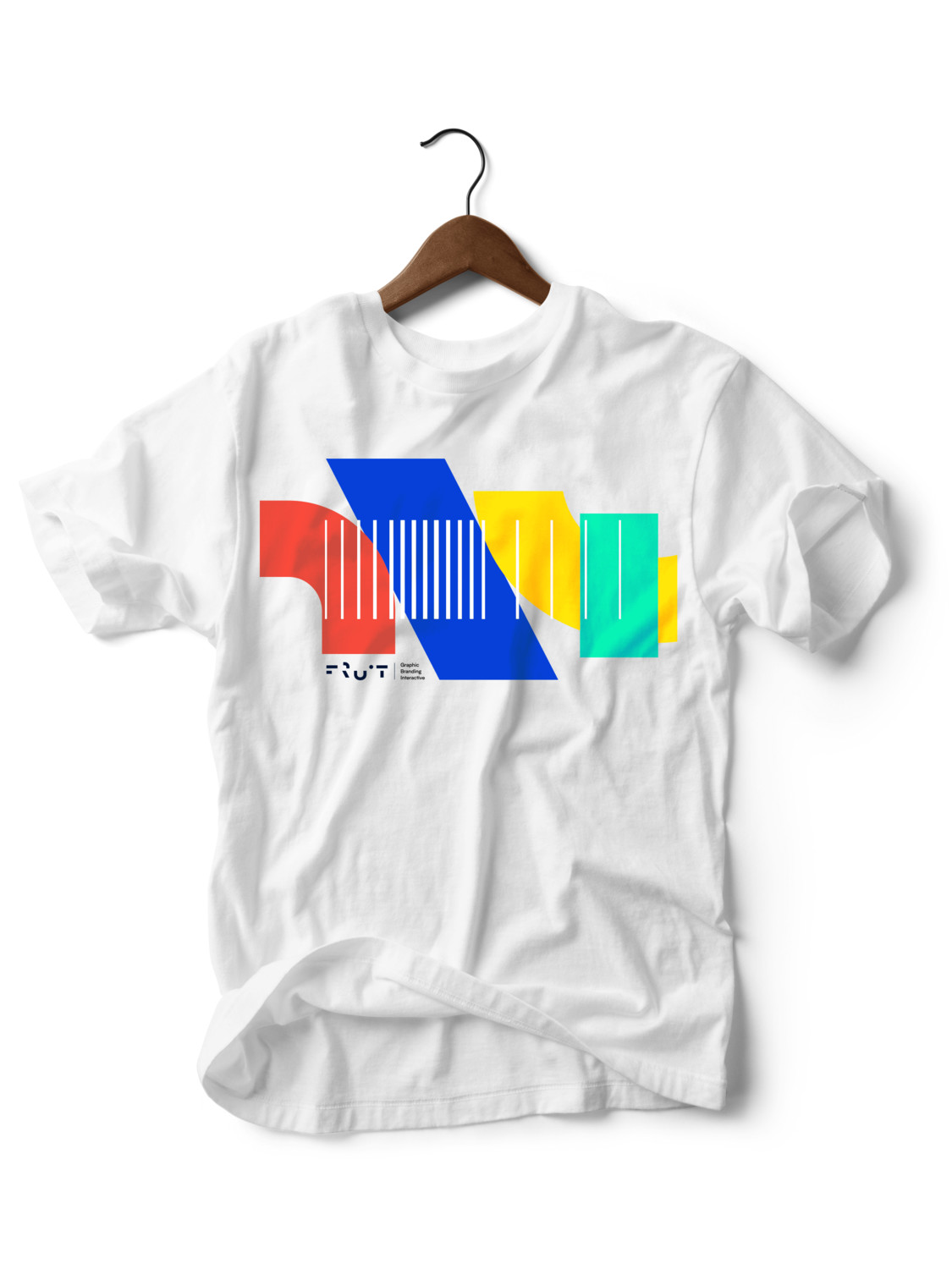 Geometric White Fruit Creative Branded T-shirt