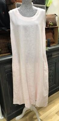 V-Back Linen Dress Blush