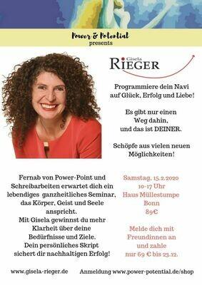 Programmiere dein Navi auf Erfolg, Glück und Liebe!  Seminar am 15.2.2020 mit Gisela Rieger