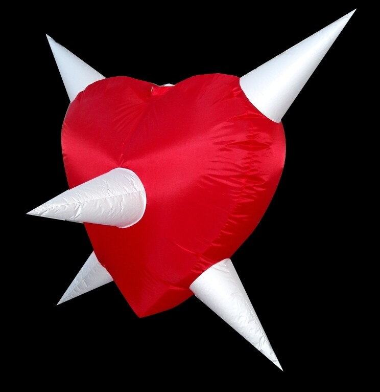 Hanging Inflatable Spiky Heart 6.4ft/195cm x 6ft/182cm