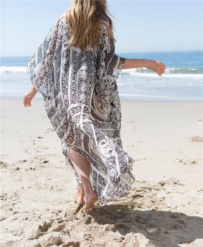 8c70ba0838 Black & White chiffon tunic Kaftan Dress/ Beach Swim Cover up