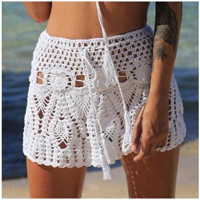 Crochet Knit Beach Skirt Cover Up