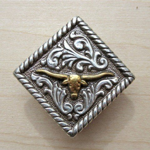 "Concho Diamond Longhorn Gold/Silver 1 1/4"" ~ TL2135AS"