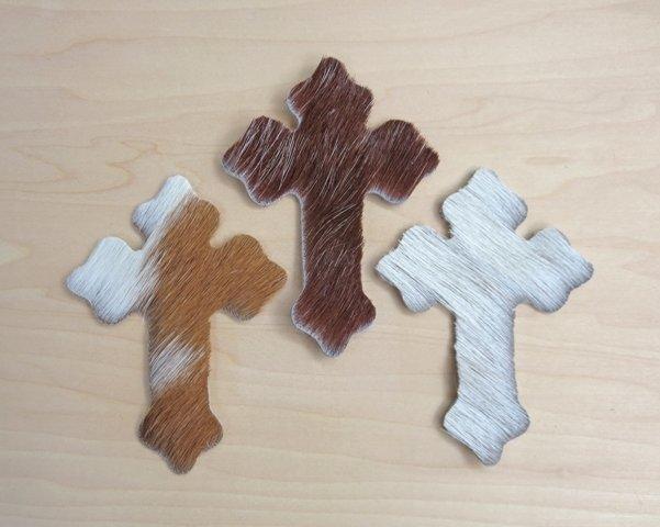 Cowhide Crosses ~ Set of 3