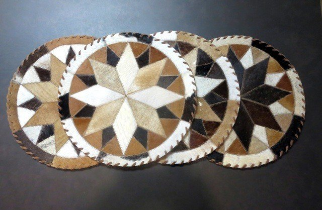 Cowhide Round Placemat ~ Set of 2 ~ CHRP1614