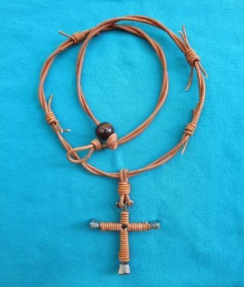 Horseshoe Nail Cross Necklace ~ Natural