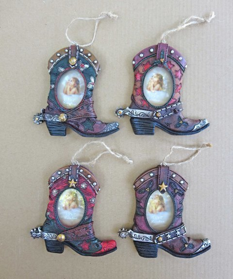 Boot Ornaments ~ Set of 4 ~ RB16095