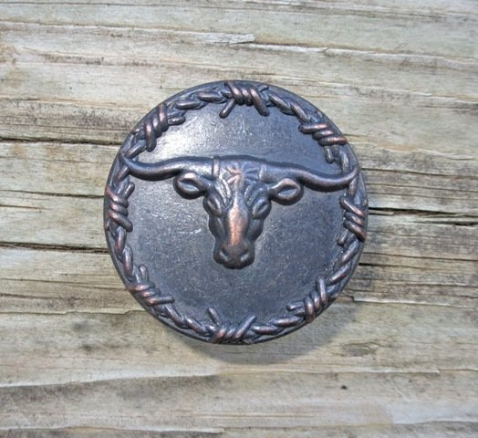 Steer with Barbwire Pull ~ R4020-ORB ~ 2 Pk