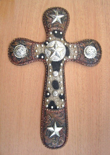 Cross with Cowskin and Silver Stars WPF8344