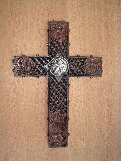 Cross with Tooled Leather and Silver Star WPF6085