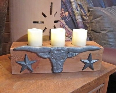 Candle Holder with Longhorn & Stars