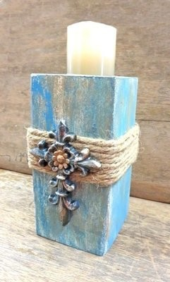 Candle Holder with Blue Cross