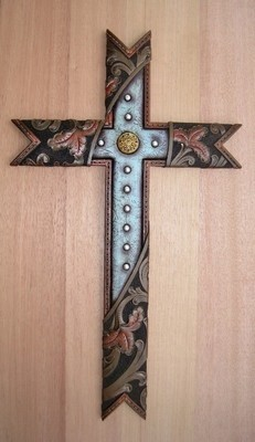 Cross with Turquoise and Tooled Leather WRA8391