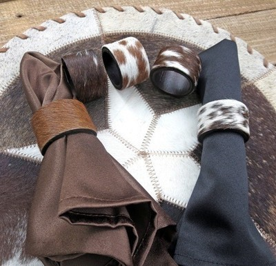 Cowhide Napkin Rings ~ Set of 4
