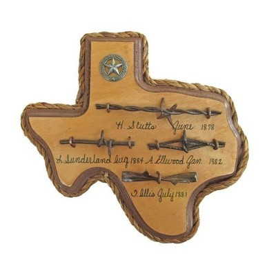 Texas Plaque with Antique Barbwire
