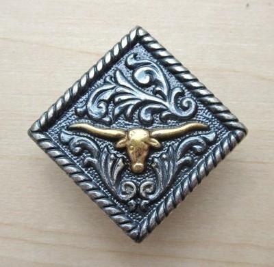 Concho Diamond Longhorn Silver/Gold 1 1/4