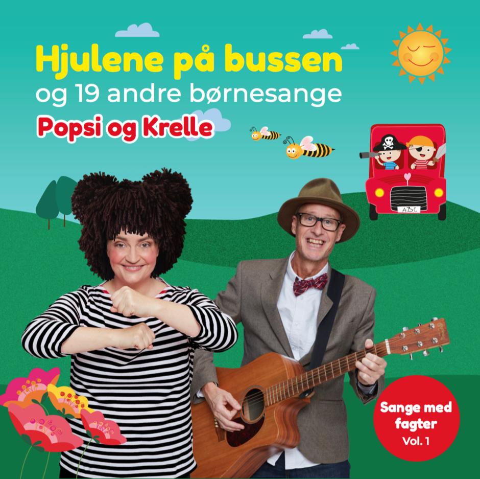 TEST _ KØB IKKE: Cd-boks m. sangkort: Popsi og Guitar-Krelle synger Hjulene på bussen og 19 andre børnesange 00001