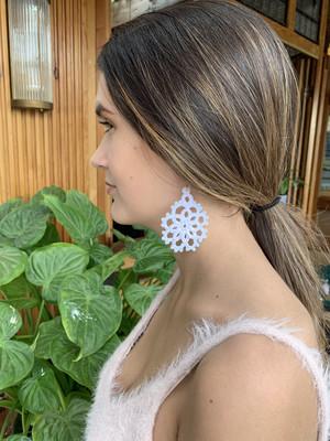 White tatty earrings