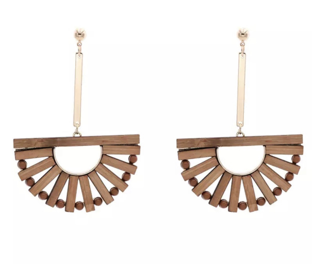 Wood Half Moon Drop Earrings