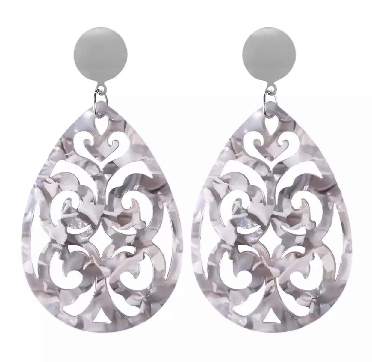 Gray Filigree Earrings