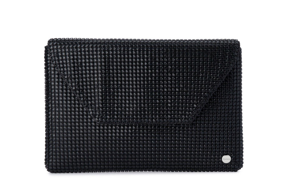 Starlight Mesh Fold over Clutch Blk