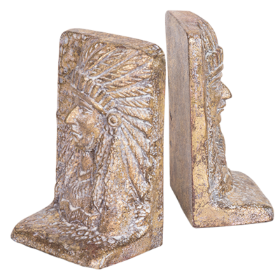 Cast Iron Bookend Set - Indian Chief