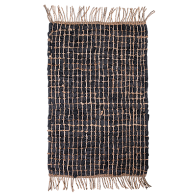 Heavy Duty Leather Jute Rug 90x150cm - Black