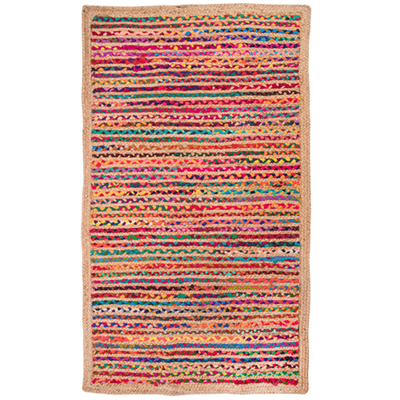 Hand Braided Jute Rug - Multi - Rectangle 90x150cm
