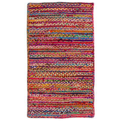 Hand Braided Jute Rug - Multi - 150x90cm