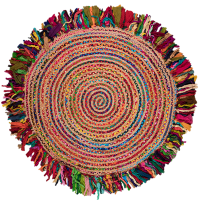 Multi Cotton Braided Jute Round Rug 135cm