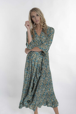 Teal Silk Floral Dress