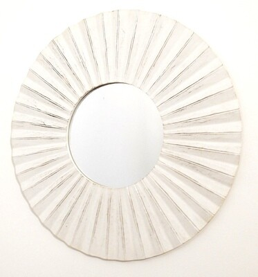 Hand carved timber round sun mirror