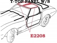 WEATHERSTRIP-T-TOP PANEL-WITH FASTENERS-USA-PAIR-77L-82 (#E2208) 4B2