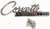 EMBLEM-REAR DECK-CORVETTE STING RAY-WITH FASTENERS-EACH-63-65(#E3153)