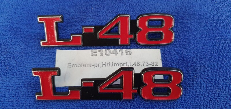 EMBLEM SET-HOOD-L-48-IMPORT-PAIR-73-82 (#E10416)