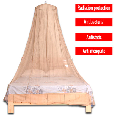 EMF Protection King/Queen Size Silver Mesh Fabric Canopy Mosquito Net