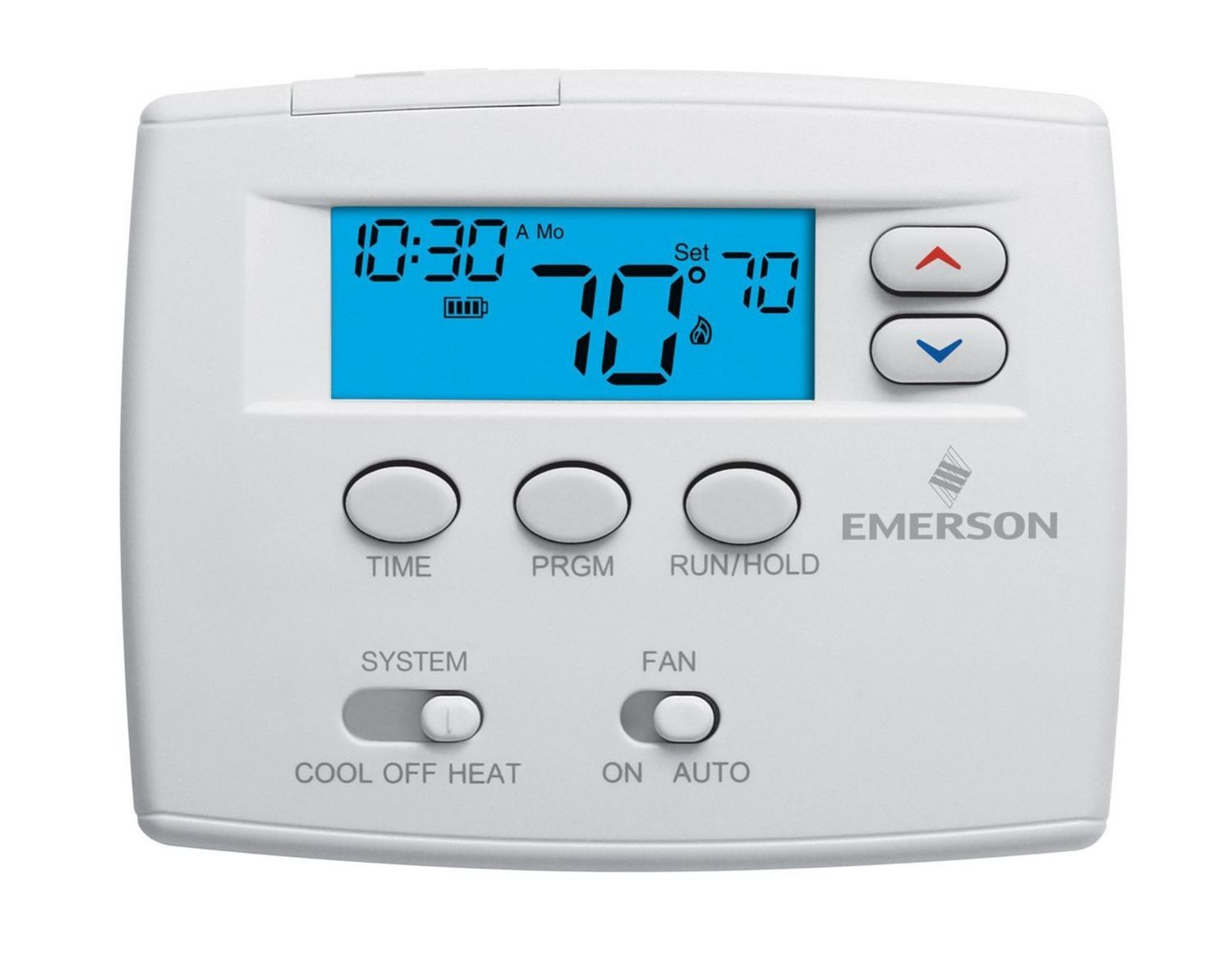 """Emerson - 1F80-0261 Blue 2"""" Programmable Single Stage Thermostat"""