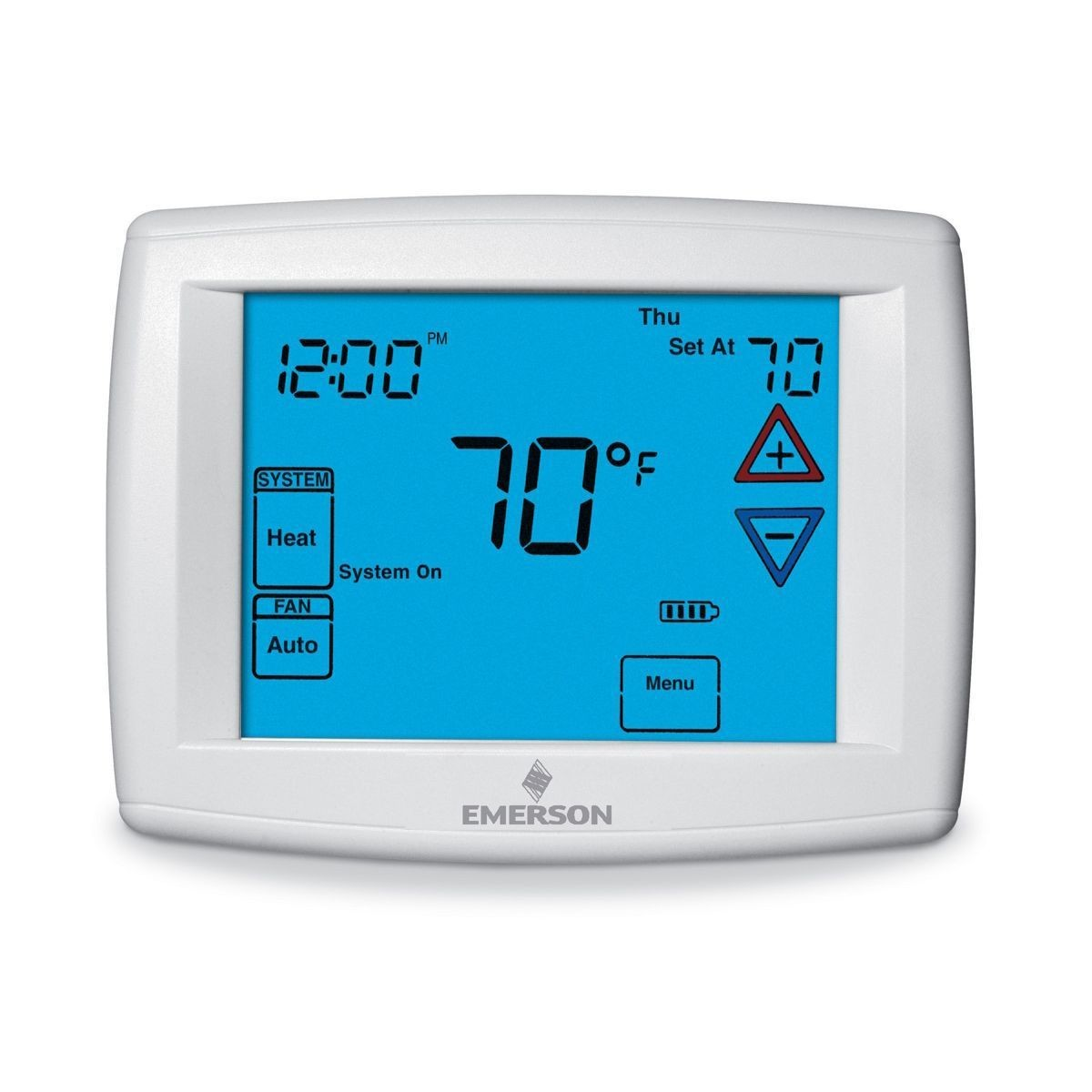 "Emerson - Big Blue Universal Thermostat with Automatic Heat/Cool Changeover Option 12"" display"
