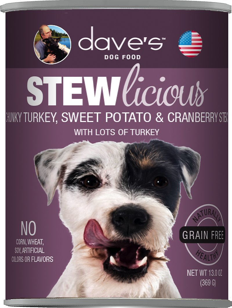Dave's Stew Licious Chunky Turkey, Sweet Potato and Cranberry Stew Formula Canned Dog Food 13oz 00069