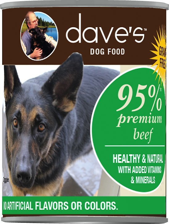 Dave's 95% Premium Beef. Beef Liver, and Beef Broth Formula Canned Dog Food 12.5oz 00072