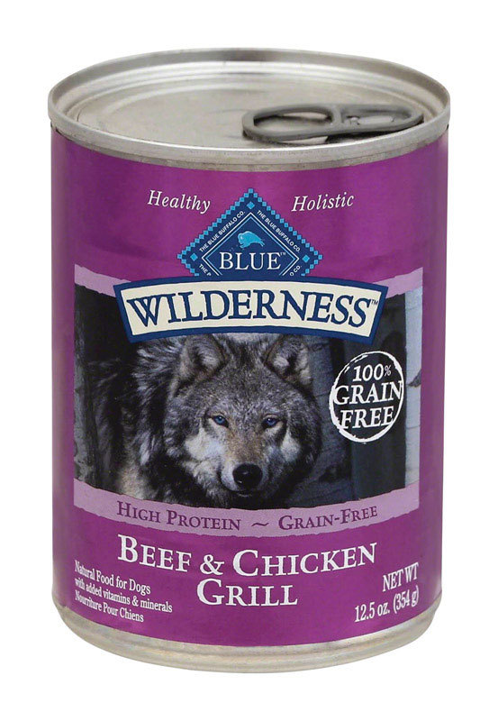 Blue Buffalo Blue Wilderness Beef and Chicken Grill Formula Canned Dog Food 12.5oz 00075