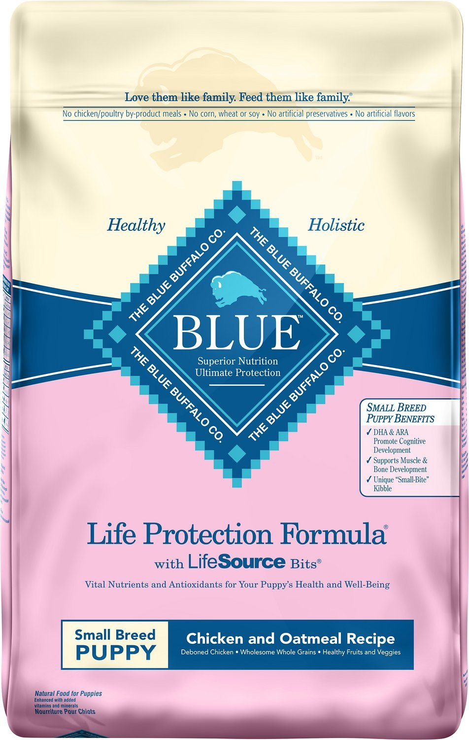 Blue Buffalo Life Protection Formula Small Breed Puppy Chicken and Oatmeal Formula Dry Dog Food 6lbs 00080