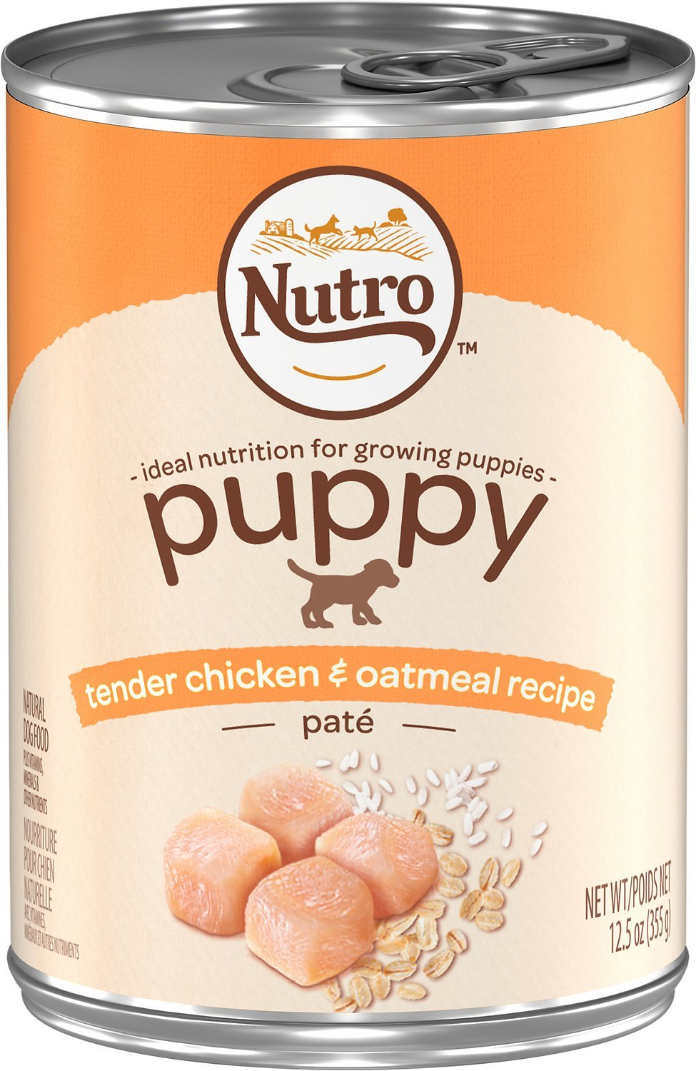 Nutro Puppy Tender Chicken and Oatmeal Pate Formula Canned Dog Food 12.5oz 00082