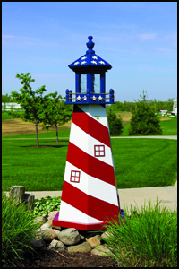Wood 2' Stars & Stripes Lighthouse