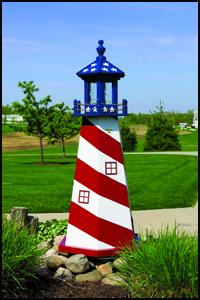 Wood 3' Stars & Stripes Lighthouse