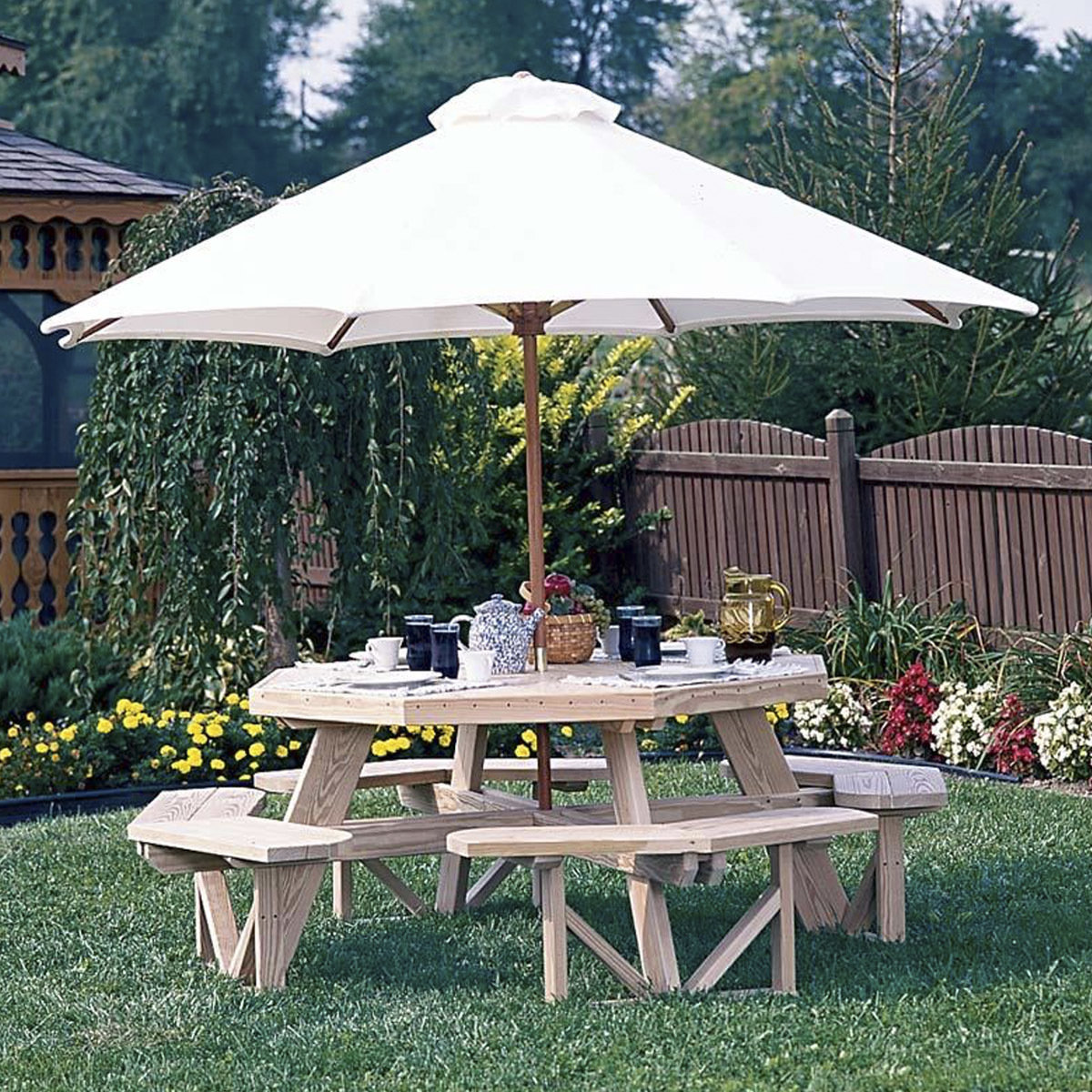 Wood Octagon Picnic Table