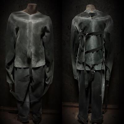 Black Straight Jacket w/Restraint Pants